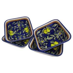 Citronique 12 oz. Square Stoneware Pasta/Salad Bowl (Set of 4)