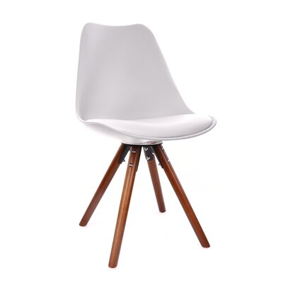 George Oliver Beyers Upholstered Dining Chair Upholstery Color: White, Leg Color: Walnut