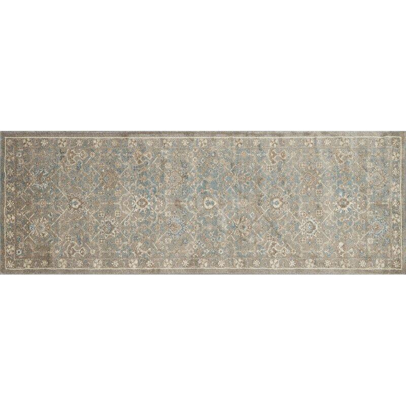 Alcott Hill Adelbert Bluestone Area Rug, Size: Rectangle 28 x 106