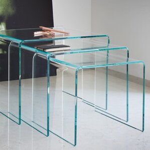 3 Piece Clear Bent Glass Nesting Tables by Fab Glass and Mirror