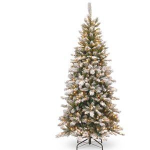 7.5' White/Green Pine Artificial Christmas Tree with 500 Clear Lights