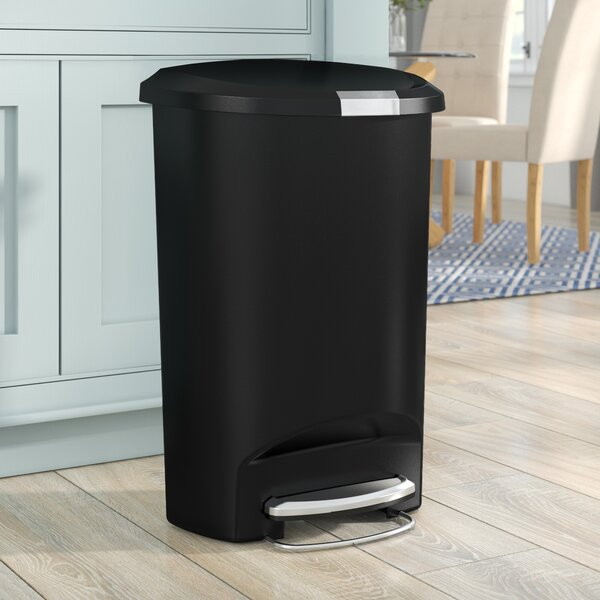 Simplehuman 13 Gallon Semi Round Step Trash Can Plastic