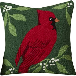 Knighton Cardinal Hooked Cotton Throw Pillow
