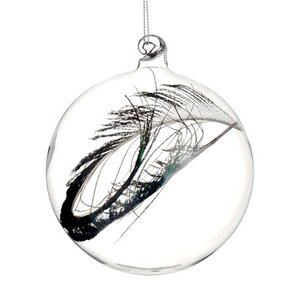 Regal Peacock Glass Christmas Ball Ornament with Faux Feather