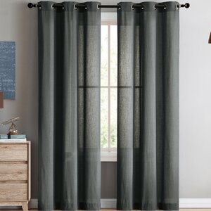 Strome Solid Semi-Sheer Grommet Curtain Panels (Set of 2)