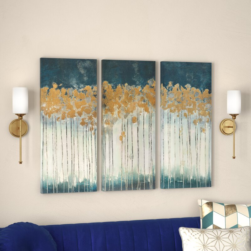 'Midnight Forest' Gel Coat Canvas Wall Art with Gold Foil ...