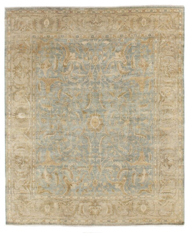 Exquisite Rugs Oushak Hand-Knotted Wool Beige/Teal Area