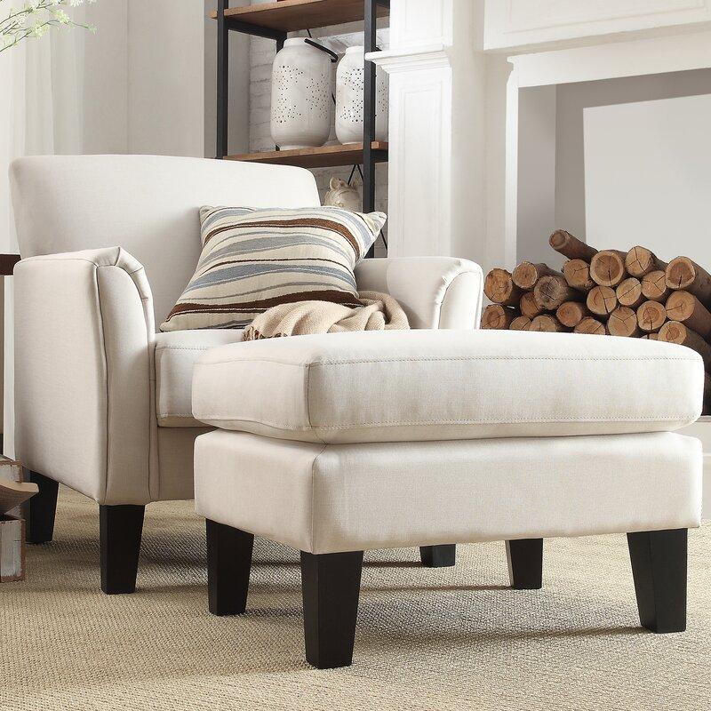Crumpton Modern Armchair And Ottoman