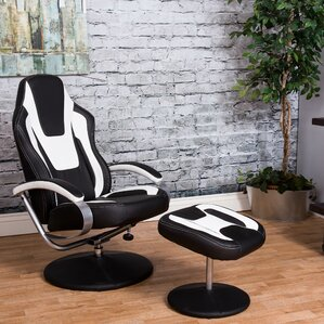 haverty modern high back manual swivel recliner with ottoman