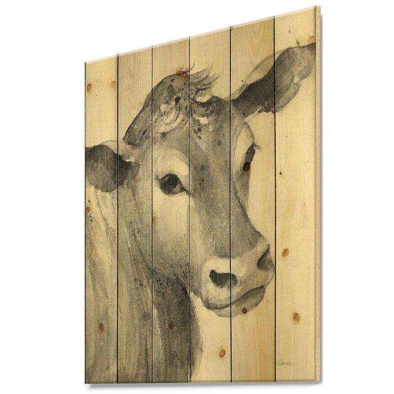 Farmhouse Animals Cow Farmhouse Animal Print On Wood