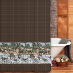 River Fishing Cotton Shower Curtain