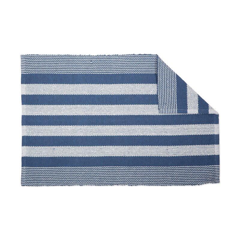Gant Recycled Yarn French Cabana Stripe Flatweave Cotton Blue Area Rug