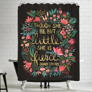Exceptional Little And Fierce On Charcoal Shower Curtain