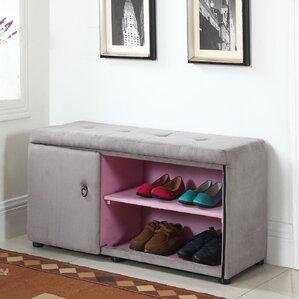 argent shoe storage bench