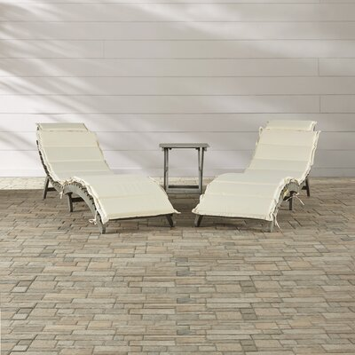 Salma 3 Piece Chaise Lounge Set with Cushion Breakwater Bay Color: Gray / Beige