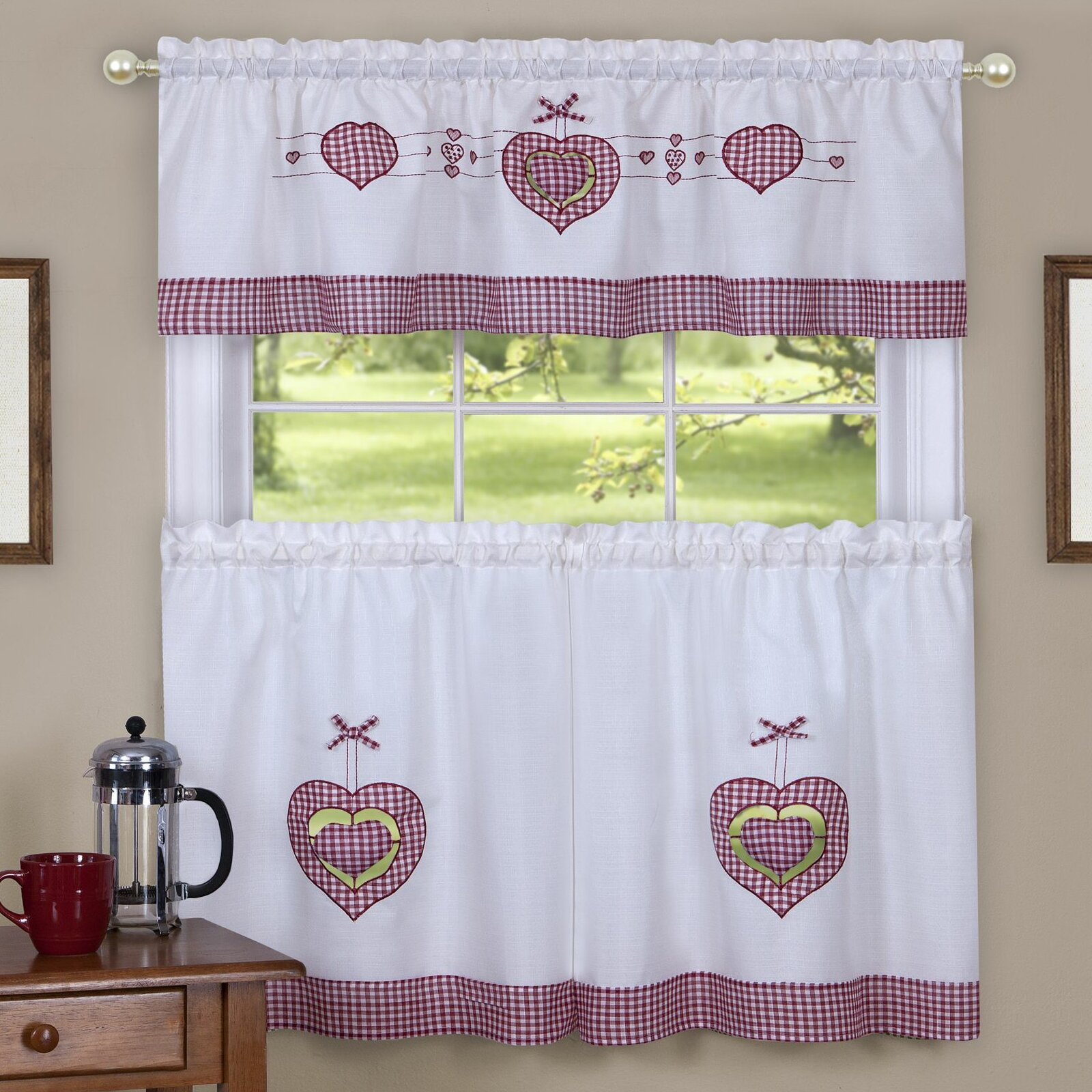 beautiful Pink Gingham Valance Part - 5: August Grove Cacia Gingham Hearts Embellished Tier and Valance Kitchen  Curtain Set u0026 Reviews | Wayfair