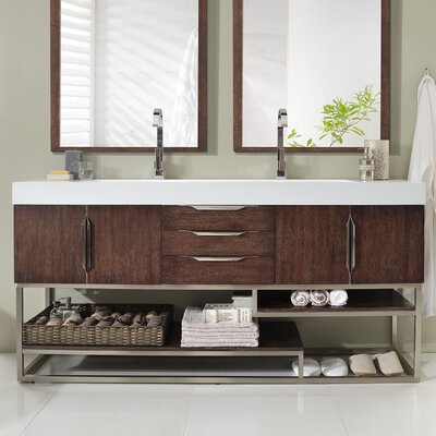Brayden Studio Hulett 73 Double Bathroom Vanity Set Base Finish: Coffee Oak