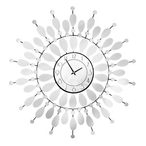 Oversized 68cm Mirrored Petal Wall Clock