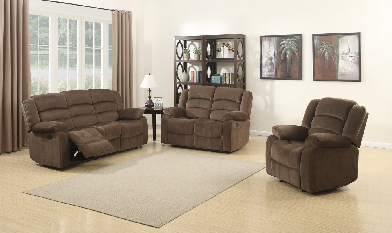 AC Pacific Bill 3 Piece Living Room Set & Reviews | Wayfair