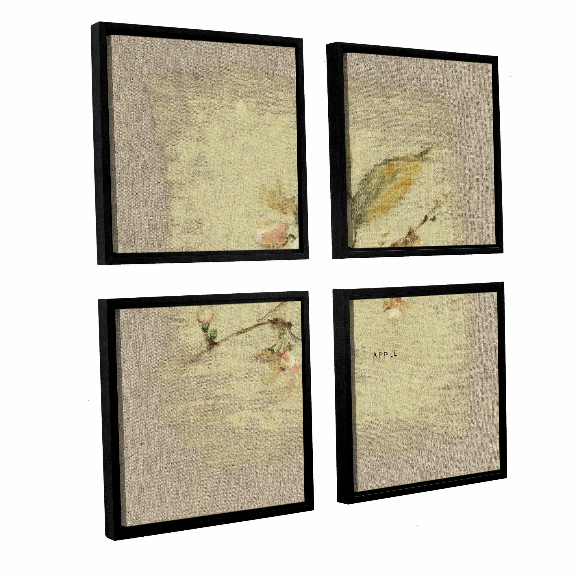 Artwall 39apple blossom square39 by cheri blum 4 piece for Best brand of paint for kitchen cabinets with cherry blossom canvas wall art