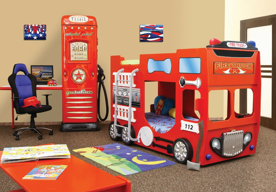 plastiko fire truck toddler bunk bed | wayfair