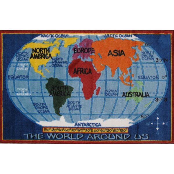 Fun Rugs Supreme Kids World Map Classroom Blue Area Rug & Reviews ...