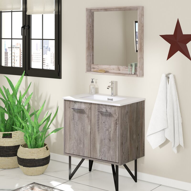 "Rustic Bathroom Vanity Set: Union Rustic Ellison Nature Wood 30"" Single Bathroom"