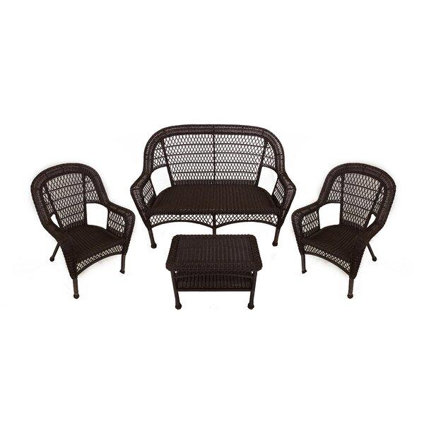 LB International 4 Piece Resin Wicker Patio Furniture Set U0026 Reviews |  Wayfair