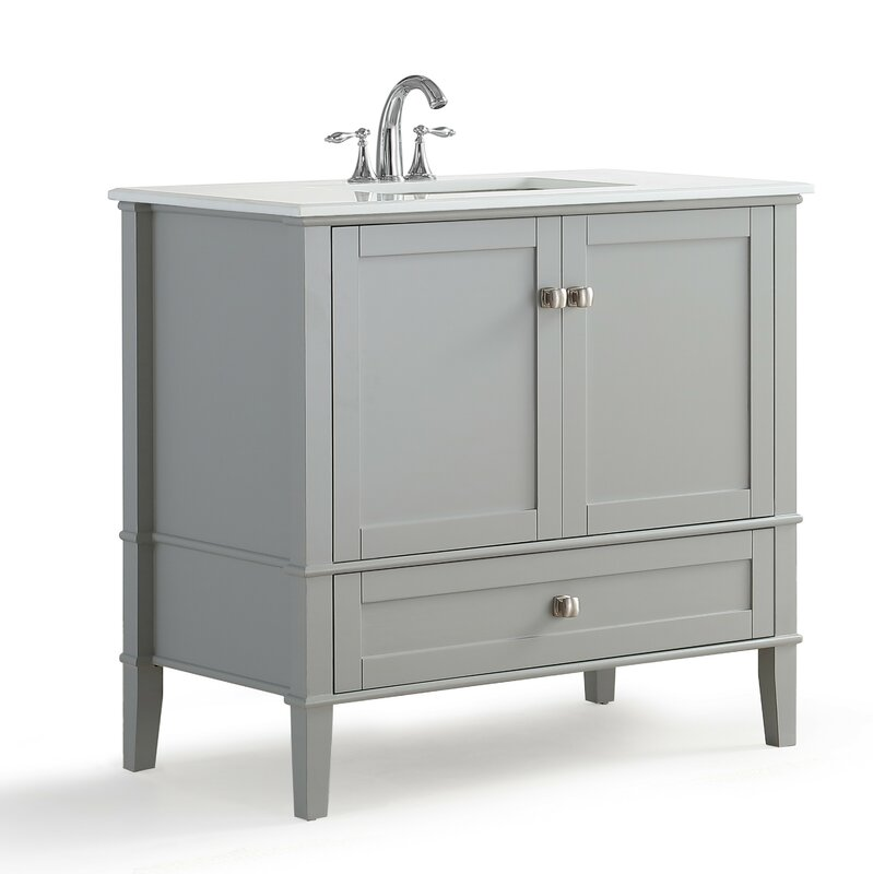 "simpli home chelsea 36"" single bathroom vanity with quartz marble"