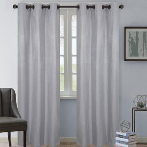 Dean Plaid and Check Semi-Sheer Grommet Curtain Panel (Set of 2)