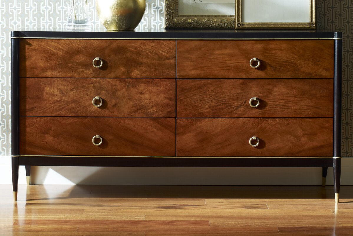 Great Davenport 6 Drawer Double Dresser