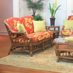 South Sea Rattan Nadine Jasmine Antique Stripe Loveseat Image