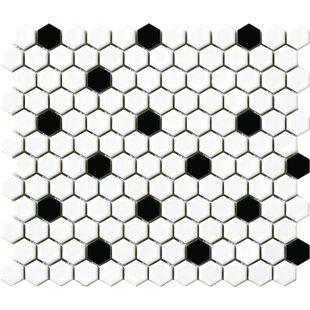 Vintage 1 X Porcelain Mosaic Tile In White Black Hexagon