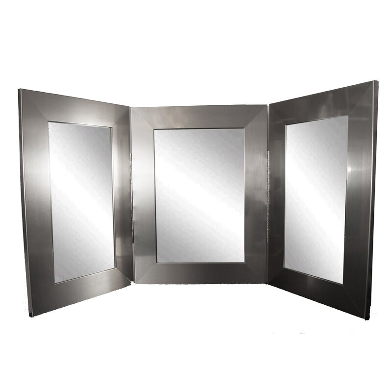 Tri Fold Wall Mirror brandtworksllc vanity trifold mirror & reviews | wayfair