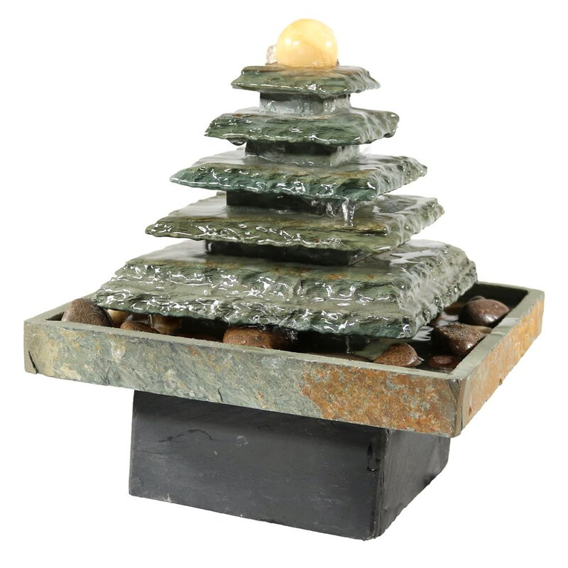 Charming Tabletop Water Fountain Part - 6: Slate Pyramid Tabletop Water Fountain