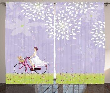 Girl Riding Bike Graphic Print Room Darkening Rod Pocket Curtain Panels