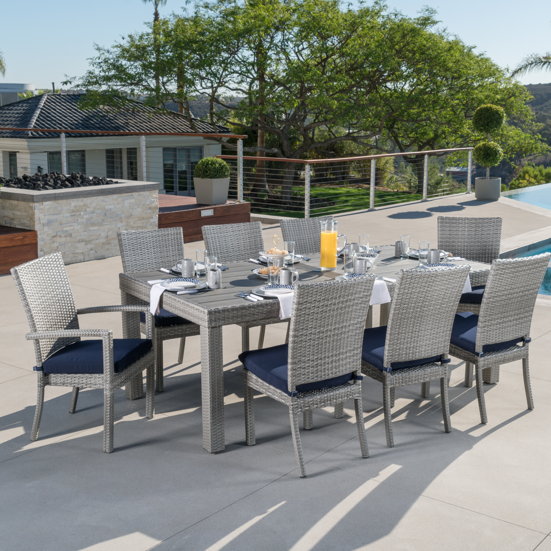 Wade Logan Castelli 9 Piece Sunbrella Dining Set With Cushions U0026 Reviews |  Wayfair