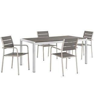 Coline Outdoor Rectangular Patio Aluminum 5 Piece Dining Set