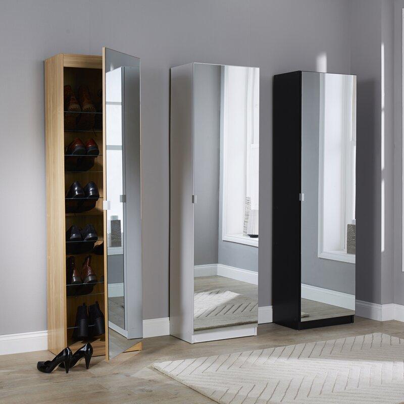 Superior Mirror Shoe Storage Cabinet