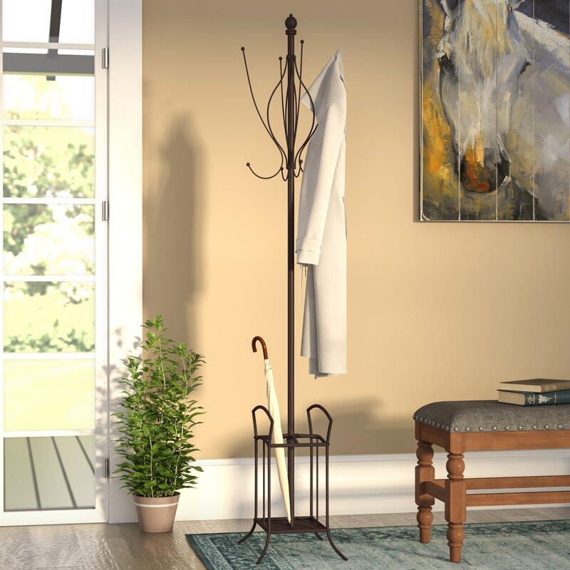 Freestanding Metal Coat Rack With Umbrella Stand