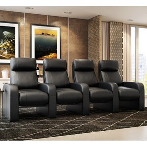 Leather Manual Rocker Recline Home Theater Row Seating (Row of 4) by Freep..