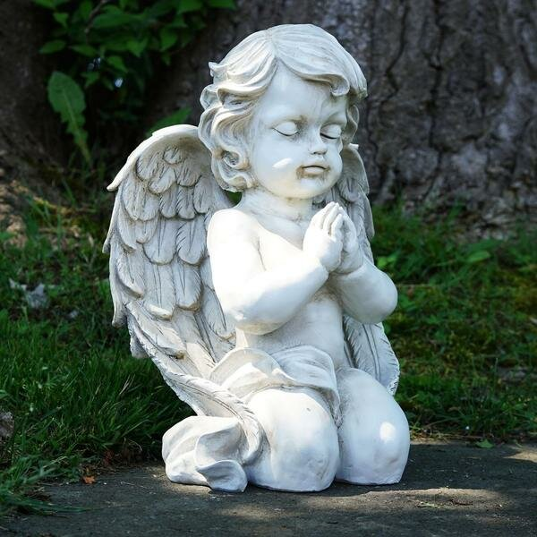 Cherub Kneeling Praying Angel Religious Outdoor Garden Statue