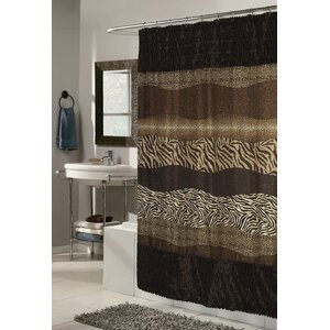 Shadai Faux Fur Trimmed Printed Shower Curtain