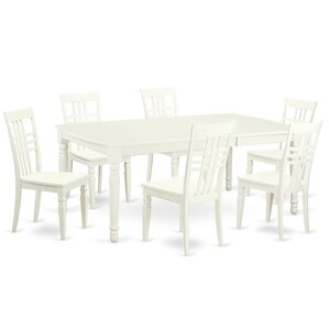 7 Piece Dining Set in Linen White by East West Furniture