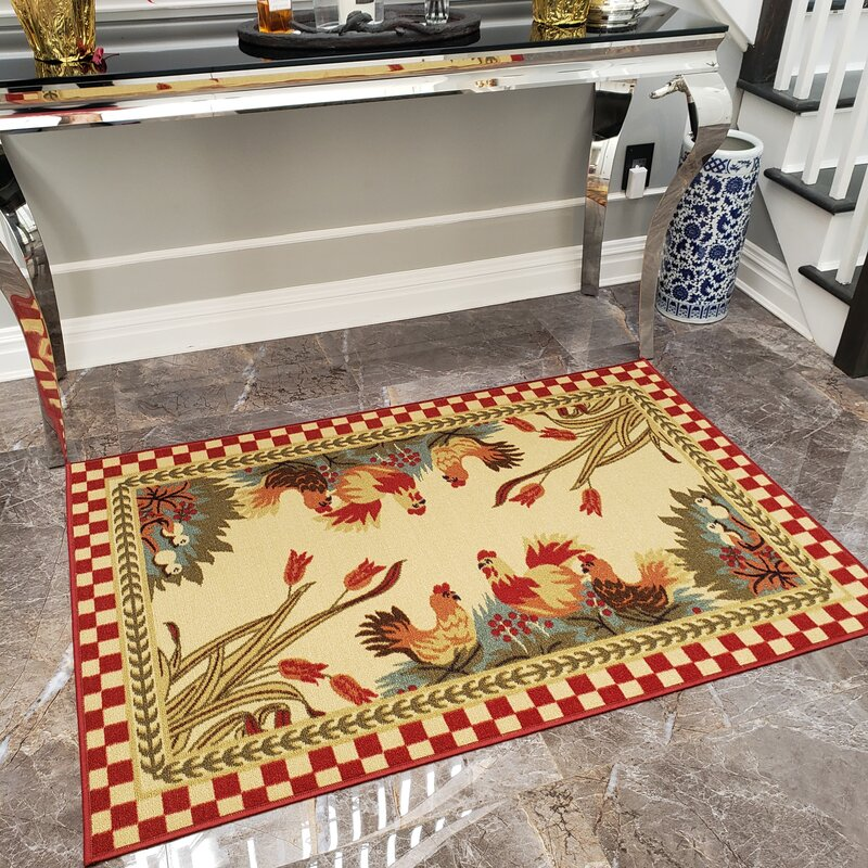 Harmon Rooster Checkered Cream Red Kitchen Area Rug