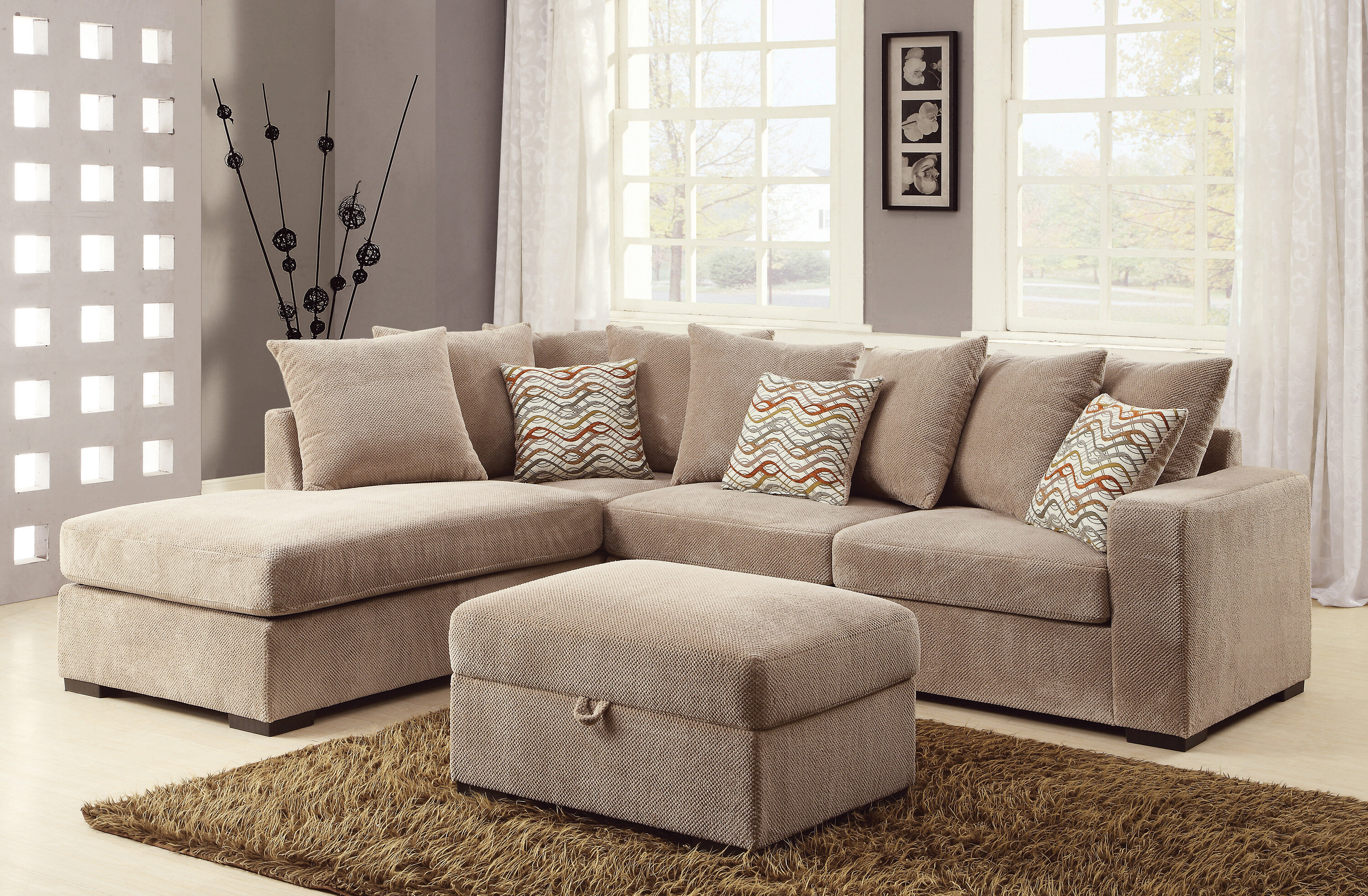 arm double chaise contemporary right furniture facing sectional shaped by products sofa l with