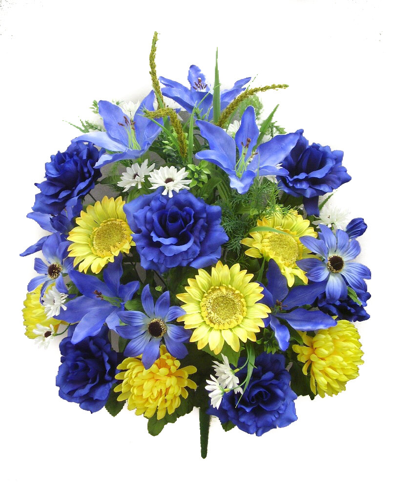 Admiredbynature 33 Stems Artificial Full Blooming Sunflowers Rose Lily And Black Eyed Susan With Foliage Mixed Bush Wayfair