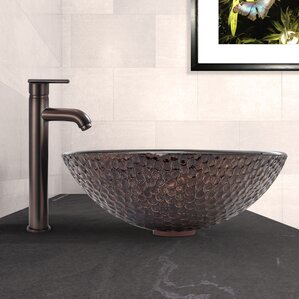 copper shield glass circular vessel bathroom sink