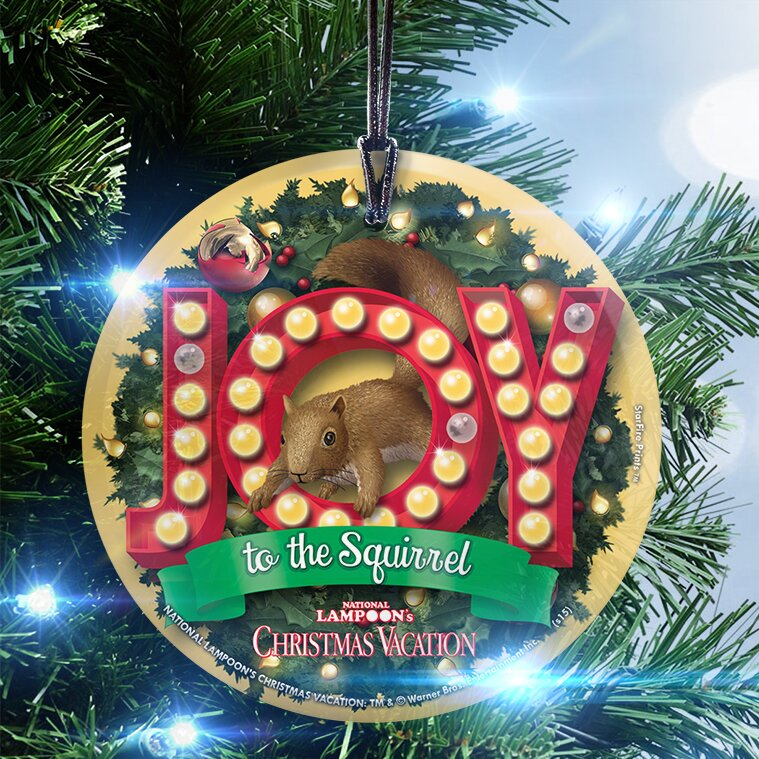 national lampoons christmas vacation joy to the squirrel hanging shaped ornament