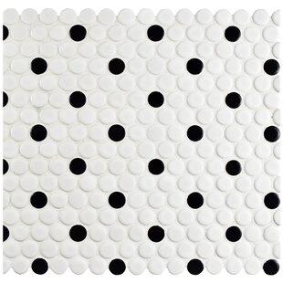 Retro 0 75 X Porcelain Mosaic Tile In Matte White Black